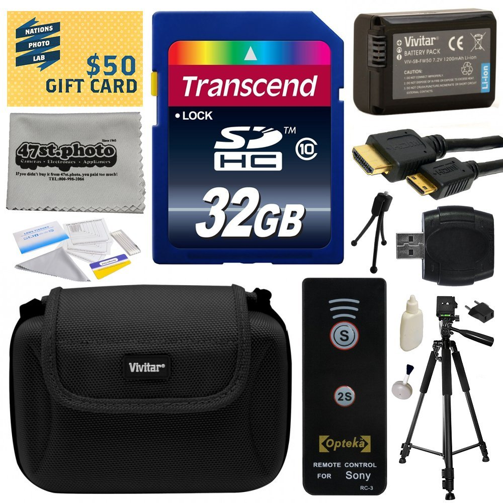Must Have Kit for Sony includes 32GB SDHC Memory Card, NP-FW50 Battery, Tripod, Carrying Case, Wireless Shutter, HDMI to HDMI Mini Cable, SD Card Reader, Camera Lens Cleaning Kit