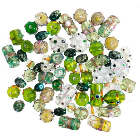 Glass Beads for Jewelry Making for Adults 120-140 Pieces Lampwork Murano Loose Beads for DIY and Fashion Designs – Wholesale Jewelry Craft Supplies (Green Combo - 10 oz)