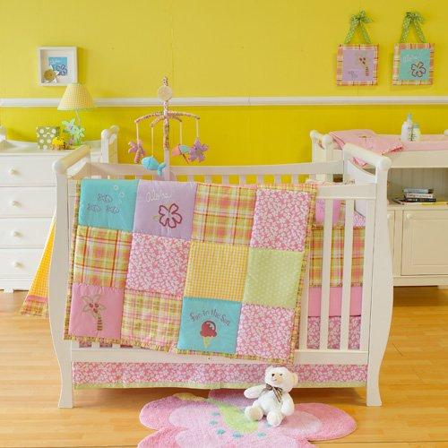 Sumersault Aloha Patchwork Girl 4 Piece Crib Bedding Set Walmart Com