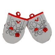 Disney Kitchen Neoprene Mini Oven Mitts, 2pk-Heat Resistant Oven Gloves with Insulation Ideal for Handling Hot Kitchenware-Non-Slip Grip, Hanging Loop, 5.5 x 7 Inches  Mickey and Minnie Swing