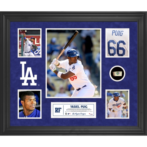 Yasiel Puig Los Angeles Dodgers Fanatics Authentic Framed 5-Photograph Collage with Piece of Game-Used Ball - No Size