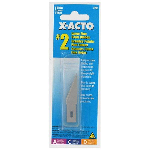 "X-acto Heavy-duty Narrow Angle Blades - #2 - 1.90"" Length - Straight Style - Carbon Steel - 5 / Pack - Silver (X202)"