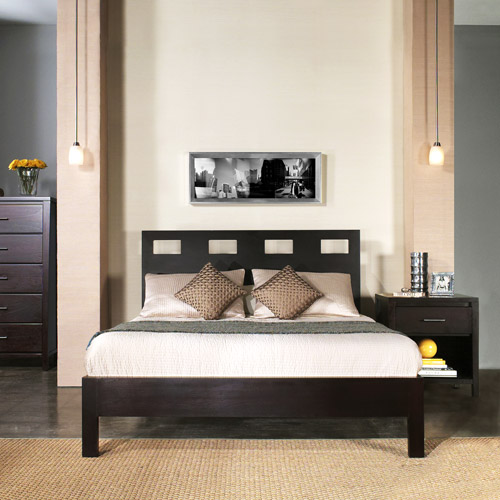 Riva King-Size Platform Bed with Headboard, Footboard and Rails, Espresso - Box 2 of 3