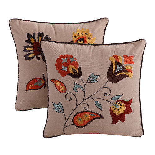 Greenland Home Fashions Andorra Embroidered Cotton Throw Pillow (Set of 2)