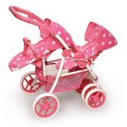 Badger Basket Polka Dot Reversible Double Doll Stroller - Pink