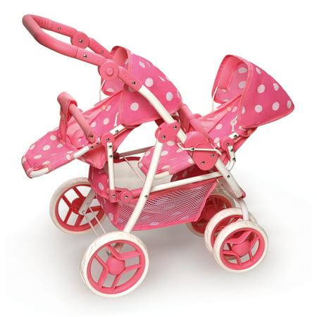 Double Stroller For Dolls (Badger Basket Polka Dot Reversible Double Doll Stroller -)