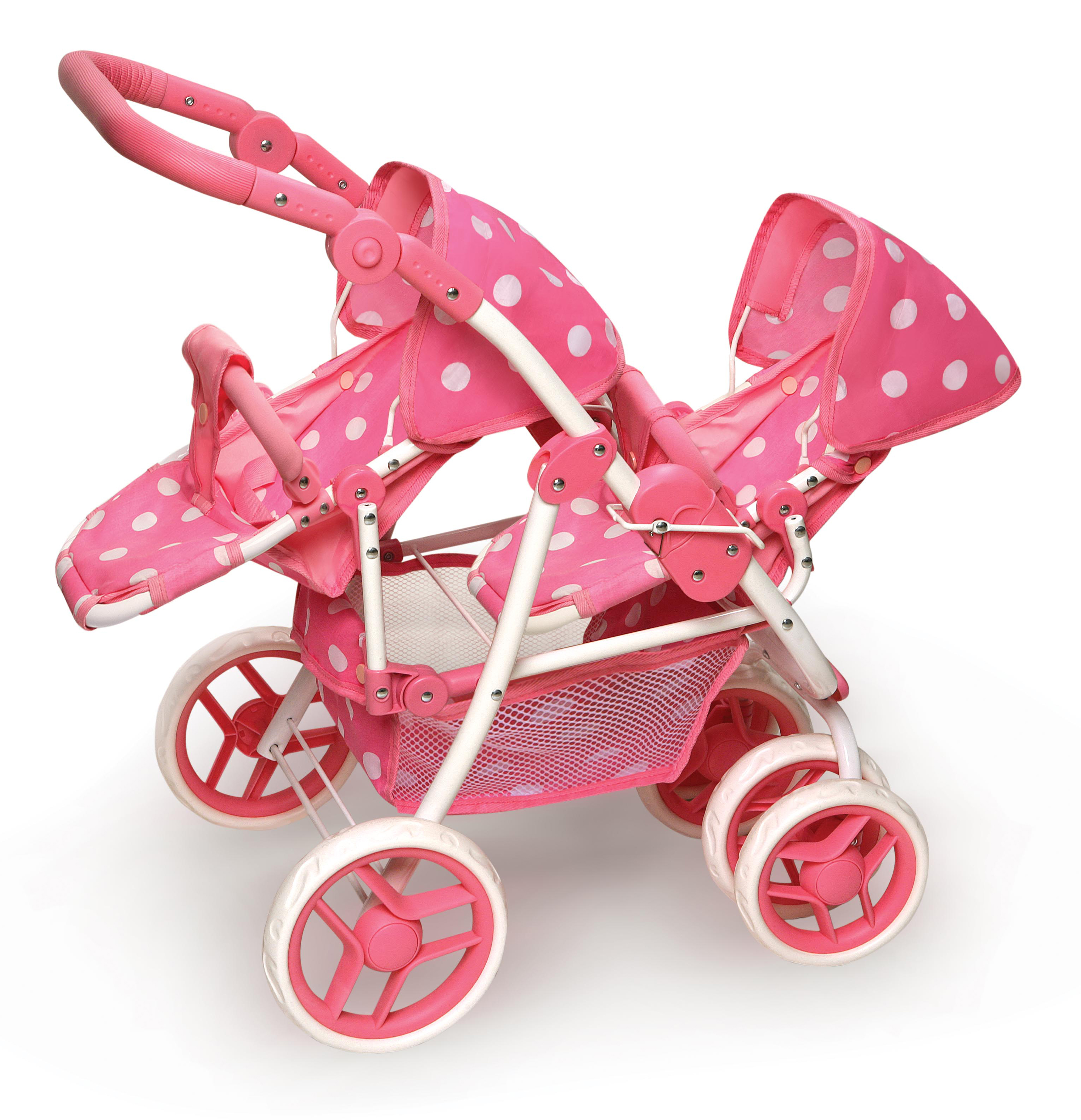 "Badger Basket Polka Dot Reversible Double Doll Stroller - Pink - Fits Most 18"" Dolls & My Life As"
