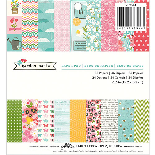 """Garden Party Paper Pad, 6"""" x 6"""", 36 Sheets, 24 Designs"""