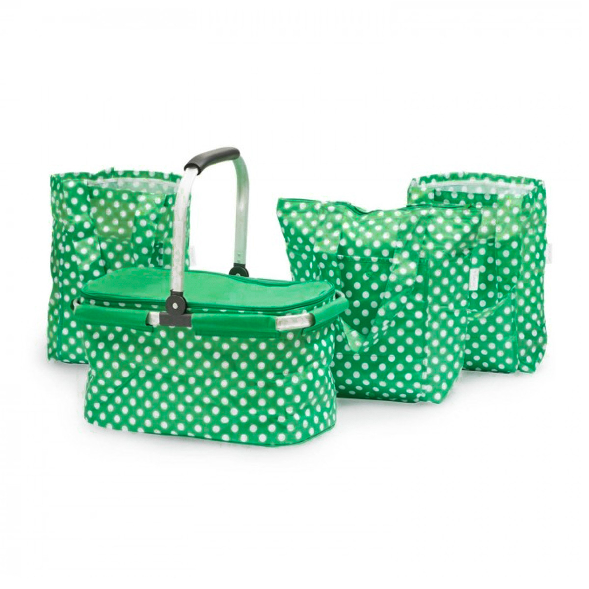 4pc Sachi Insulated Shopping Picnic Basket Collapsible Cooler with Handles Reusable Foldable Tote Bags Set
