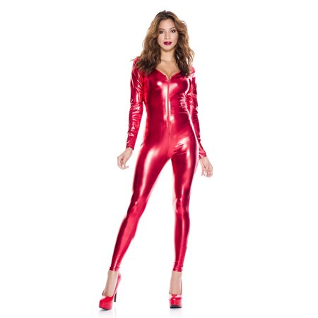 Long Sleeve Wet Look Catsuit 70969-RED-SM - Lion Catsuit