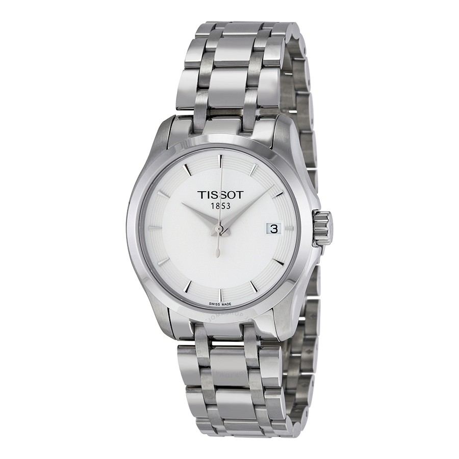 Tissot Women's Couturier 32mm Steel Bracelet & Case Swiss Quartz White Dial Watch T035.210.11.011.00