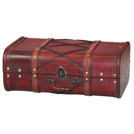 Antique Cherry Wooden Suitcase with Leather X Design](Decorative Suitcase)