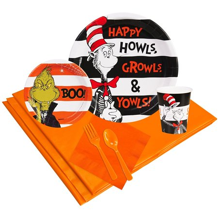 Dr Seuss Halloween Party Supplies Party Pack 24, Includes: (24) 9� Dinner Plates, (24) 7� Dessert Plates, (24) 9oz Paper Cups, (24) Lunch Napkins.., By BirthdayExpress - Halloween Cups And Plates
