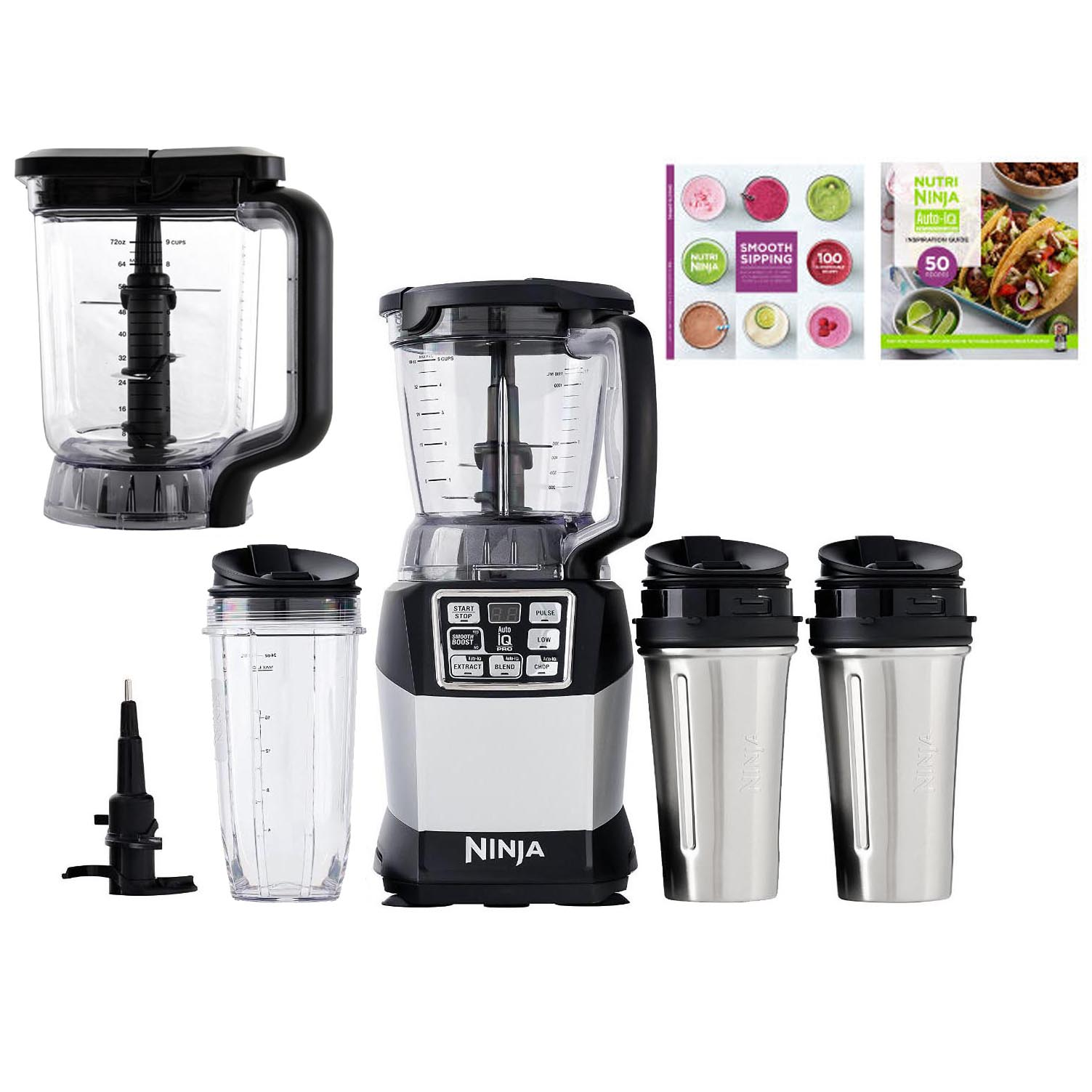 Nutri ninja blender system with auto iq technology - Ninja Auto Iq Blender System W 40 Oz Bowl 72 Oz Pitcher 3 Cups Cook Book Walmart Com