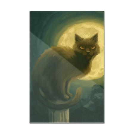 Black Cat - Halloween Oil Painting - Lantern Press Artwork (8x12 Acrylic Wall Art Gallery Quality) (Acrylic Painting Halloween)