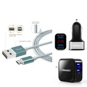 BasAcc Dual Port Black/Silver LED USB 3.1A Car Charger + 4.8A Travel AC Wall Charger (with 3.3' Micro USB Cable)