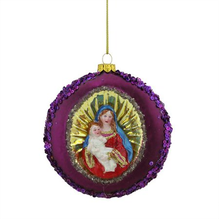 - Northlight Seasonal Mary and Baby Jesus Sequin Religious Christmas Glass Disc Ornament