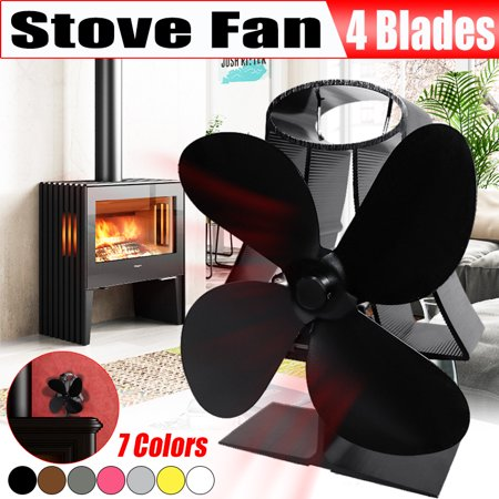 Stove Fan- 4 Blades Heat Powered Fan for Wood Burning Stoves or Fireplaces-Quiet and Low Maintenance, Disperses Warm Air Through House by Home-Complete (Fireplace Blower Fan Quiet)