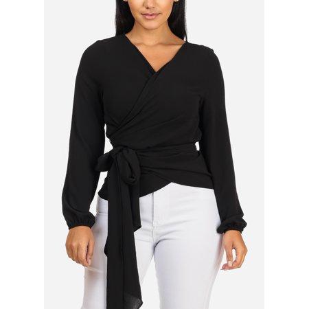 Womens Juniors Evening Fashion Divine Long Sleeve Wrap Surplice Solid Black Blouse 41149P - Long Sleeve Surplice