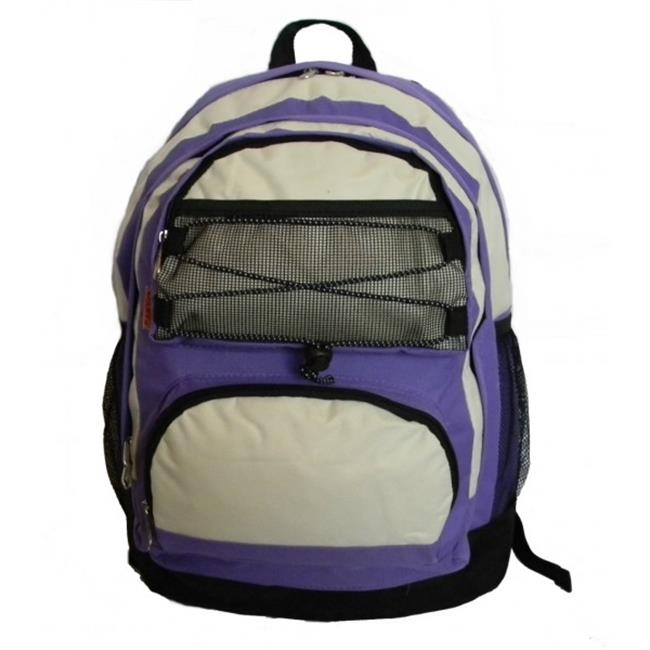 K-Cliffs Backpack With 2 Main Compartments, 18 x 13 x 8 in. Purple & Beige