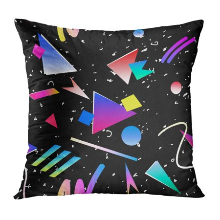ECCOT Colorful Pattern Abstract Retro 80S 90S Memphis Geometric Hip Hop Vintage and 1980S 1990S Disco Triangle Pillowcase Pillow Cover Cushion Case 16x16 inch
