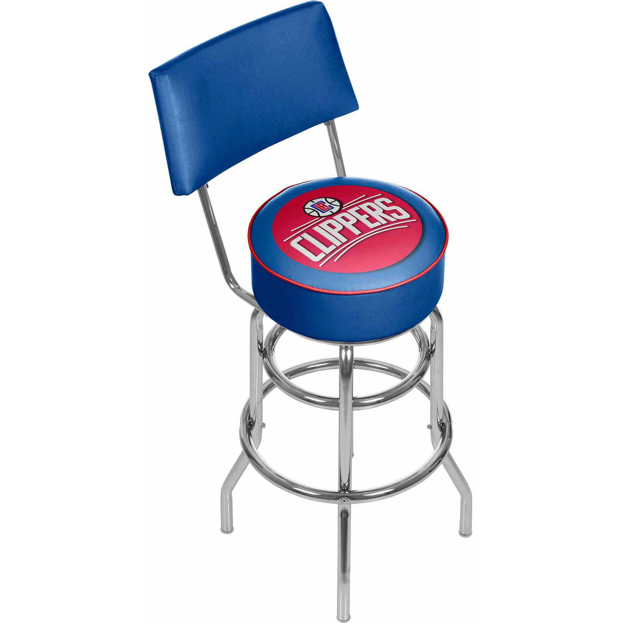 "Trademark NBA Los Angeles Clippers 40"" Padded Swivel Bar Stool with Back, Chrome"