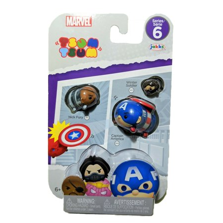 Tsum Tsum Collectible Captain America, Nick Fury, Winter Soldier (Series 6) Figurines