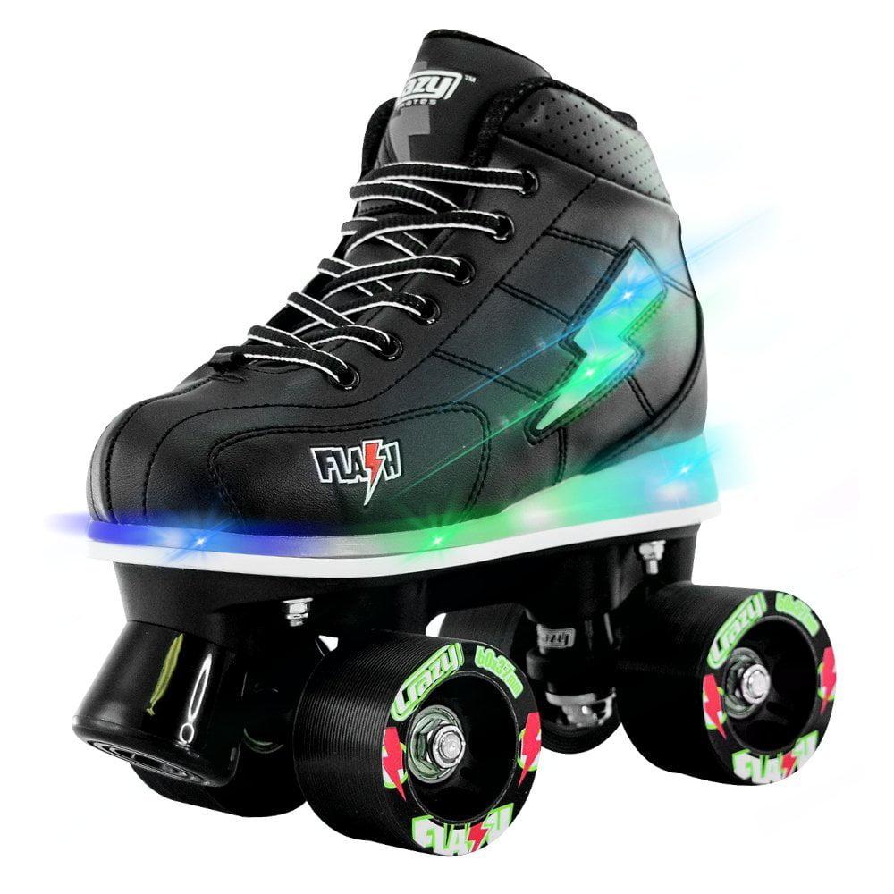 Crazy Skates Flash LED Roller Skates | LED Lightning Bolt and Light Up Boot | Black by Crazy Skates