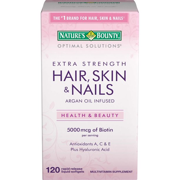 Nature's Bounty® Optimal Solutions Hair Skin & Nails Extra Strength, 120 Softgels, Multivitamin Supplement, with Antioxidants C & E