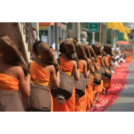LAMINATED POSTER Robes Monks Buddhists Buddhism Walk Thai Orange Poster 24x16 Adhesive Decal - Monk Robes