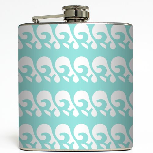 Surfs Up - Tiff Blue/White - Liquid Courage Flasks - 6 oz. Stainless Steel Flask