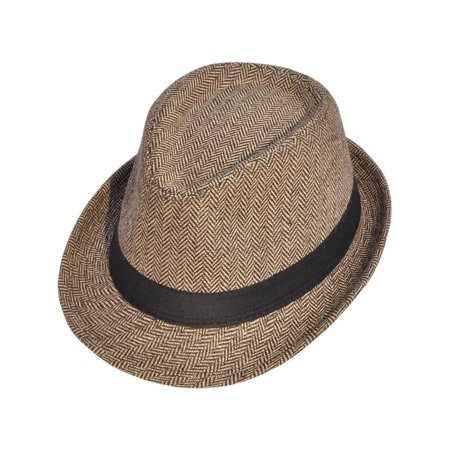 Short Brim Teardrop Crown Pinstriped Wool Fedora Hat - Hats Fedoras
