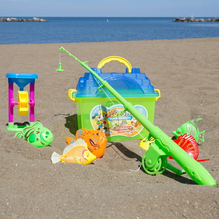 Kids Toy Fishing Set with Magnetic Fishing Pole and Reel, 6 Fish, Sand Wheel and Tackle Box- Fun Pretend Play Toys for Boys and Girls By Hey! Play! (Fishing Toys)