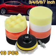3''/4''/5''/6''/7'' 10pcs Car Buffing Pads Buffer Sponge Foam Kit For Polisher Waxing