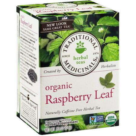 TRADITIONAL MEDICINALS Feuille de framboise bio à base de plantes supplément thé, 16 comte, .85 oz (Pack de 3)
