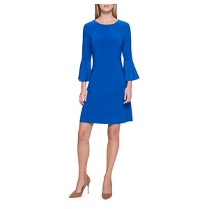 Solid Bell-Sleeve A-Line Dress