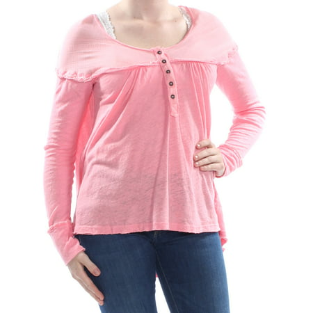 FREE PEOPLE Womens Pink Partial Button Closure Heather Long Sleeve Sweater  Size: M