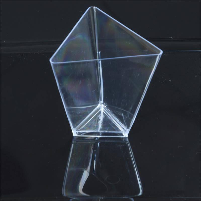 BalsaCircle Clear 12 pcs 2 oz Plastic Triangular Dessert Cups - Wedding Reception Party Buffet Catering Tableware