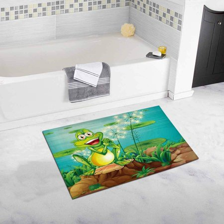 CADecor Frog Above the Stump Near the Pond Bathroom Mat Bath Rug, Doormat 30x18 inches