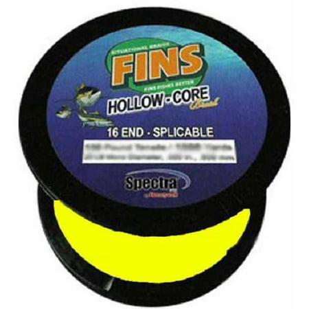 Fins SpectraHollow Core Yellow 1200 yds 200 lb Test Fishing (200 Lb Test Leader)