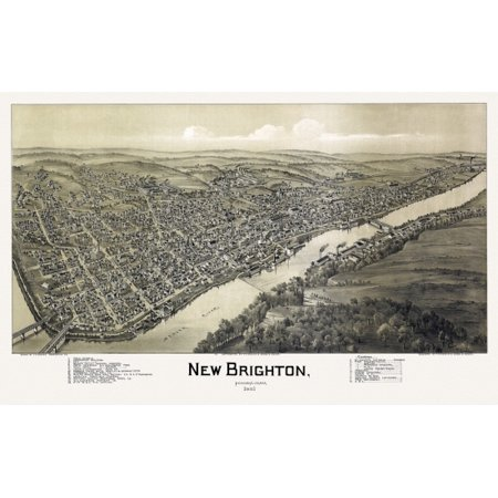 Old Map of New Brighton Pennsylvania 1901 Beaver County Canvas Art -  (24 x 36)