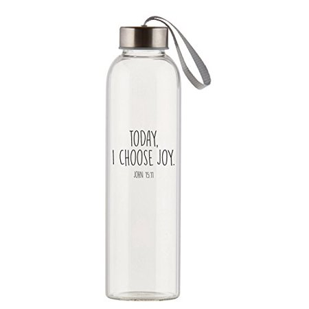 Today Choose Joy Clear 21 Ounce Glass Travel Water Bottle with Screw-Top Lid - image 1 of 1