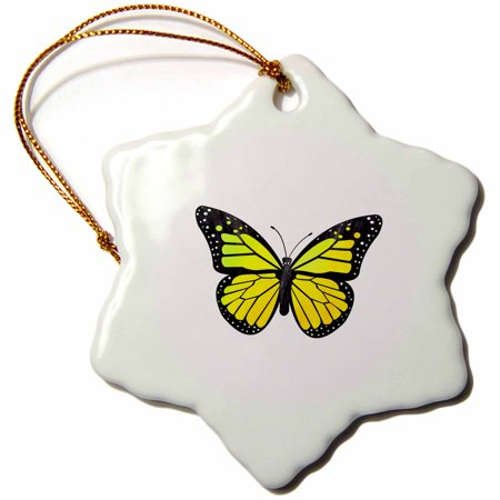 3dRose Yellow Monarch Butterfly - Snowflake Ornament, 3-inch ()