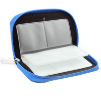 Nylon 22 Slots Storage Carrying Pouch Bag Case Blue for CF Micro SD Memory Card