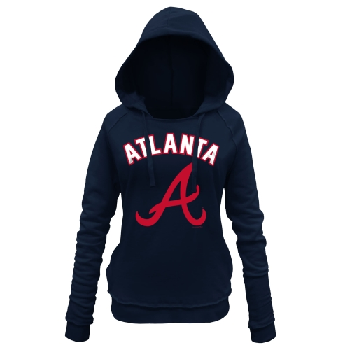 Atlanta Braves 5th & Ocean by New Era Women's Hot Corner Pullover Hoodie - Navy