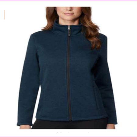 32 DEGREES WOMENS Full Zip Stand up Collar Fleece Slit Hand pocket Jacket XL/Ht Winter Forest (Slit Finger Fleece)