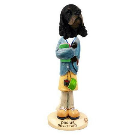 (No.Doog15F03 Cocker Spaniel Black & Tan Secretary Doogie Collectable Figurine)