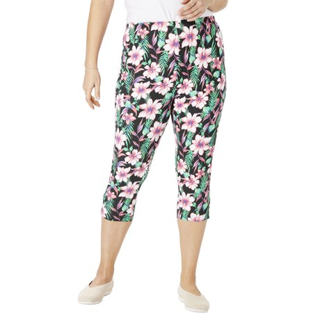 Woman Within Plus Size Stretch Cotton Printed Capri Legging