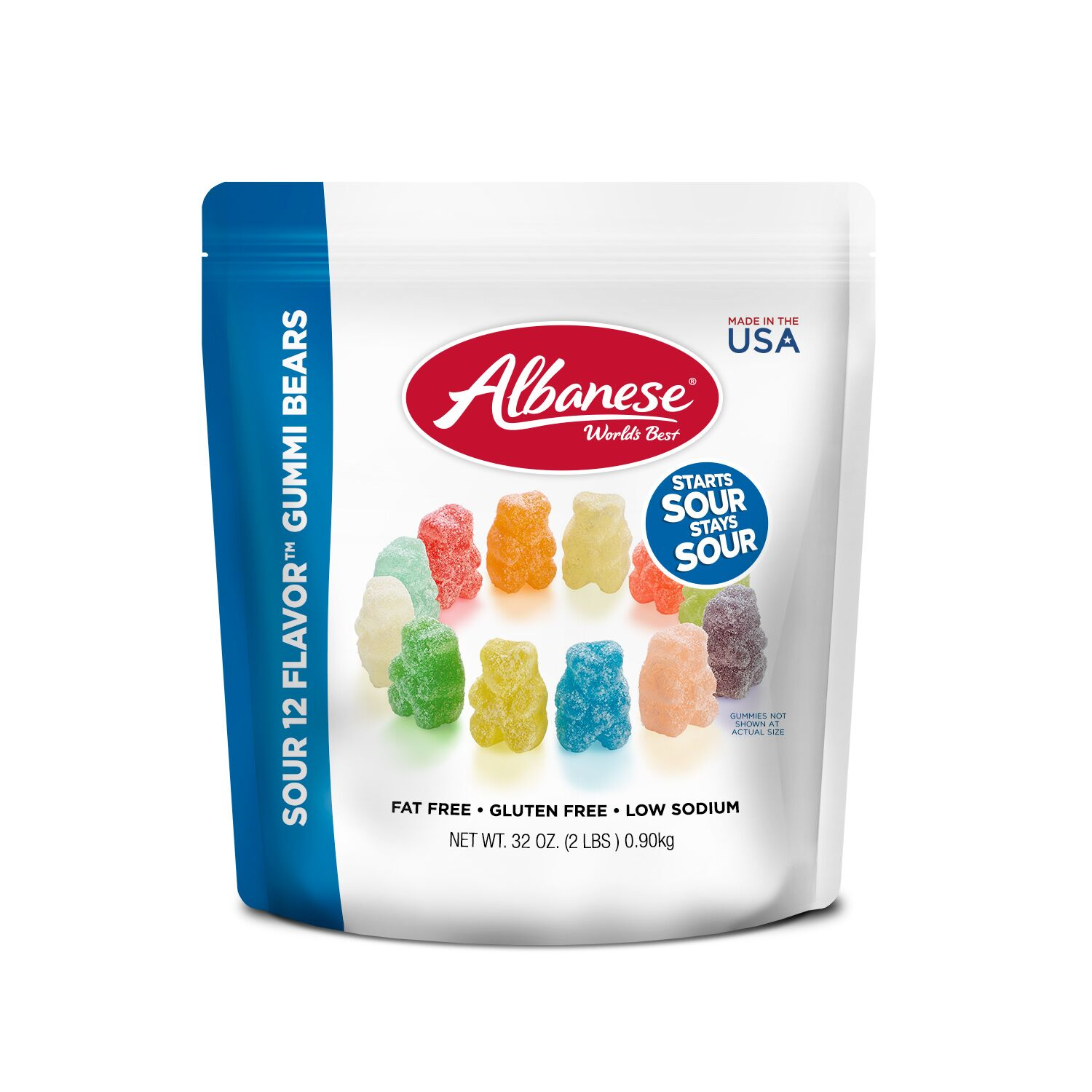 Albanese Fat-Free Gluten-Free Sour Assorted Flavors Gummi Bears, 32 Oz.