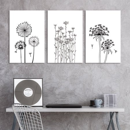 Hand Signed Giclee Canvas - wall26-3 Panel Canvas Wall Art - Hand Drawing Style Dandelions in Black and White - Giclee Print Gallery Wrap Modern Home Decor Ready to Hang - 24